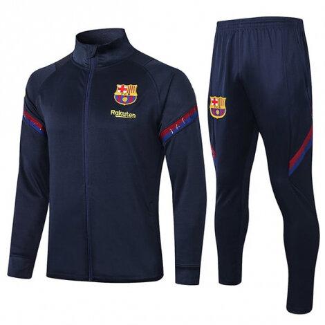 Темно-синий тренировочный костюм Барселона на молнии 2020-2021 сезона