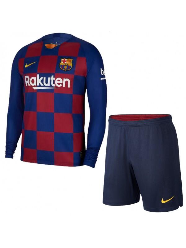 Барселона (Barcelona) Детская футбольная форма домашняя с длинным рукавом сезона 2019-2020
