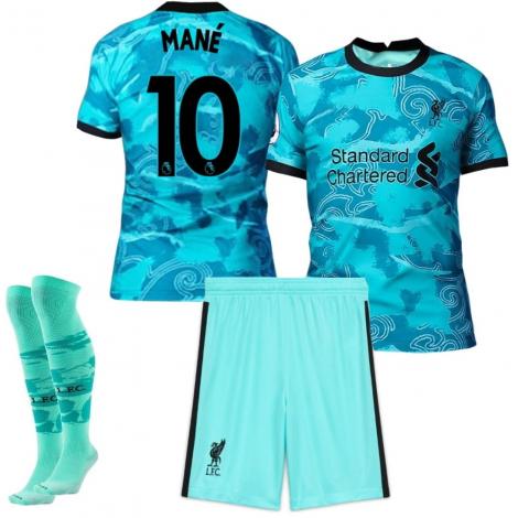 Гостевая детская форма Ливерпуль 2020-2021 Мане номер 10 (футболка + шорты + гетры)
